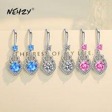 NEHZY-pendientes de plata de ley 925 para mujer, joyería a la moda, aretes piercing con forma de corazón de circonita de cristal superllamativas, color morado y rosa