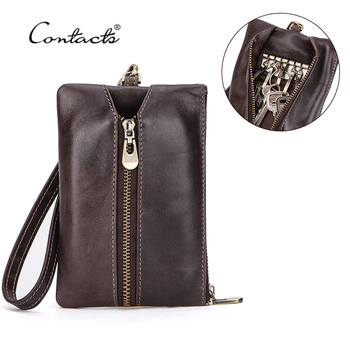 CONTACT'S Genuine Leather Key Wallet Multifunction Card Holder Coin Purse Housekeeper Small Keychain Unisex Key Bag with Strap
