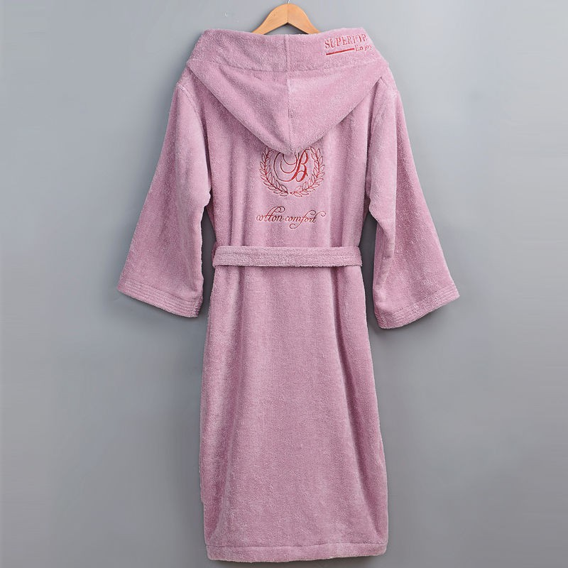 Winter Thick Robe Men Women Toweling Terry Hooded Robe Embroidery Cotton Bathrobe Soft Ventilation Sleeprobe Casual WarmHomewear