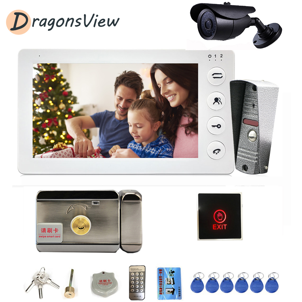 Dragonsview Video Intercom With Lock Visual Video Doorbell Door Phone Wired Entry Home Security System 1200TVL With CCTV Camera