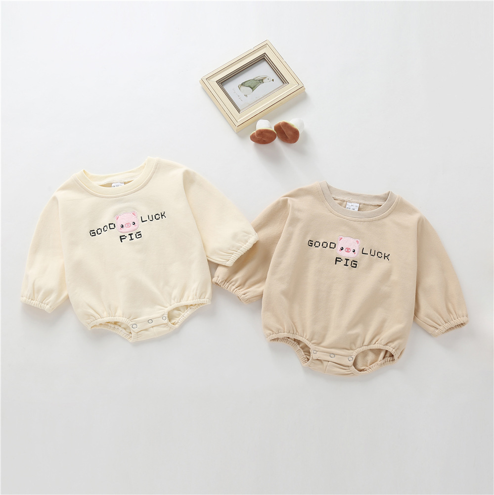 0-1-Year-Old Spring And Autumn Knitted Bat Sleeve Baby Onesie Casual Loose-Fit Newborns Clothes Baby Rompers
