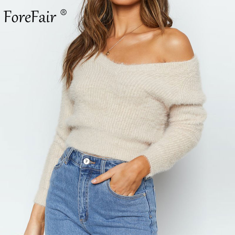 Forefair Sexy V Neck Fluffy Crop Sweater Women 2019 Slim Long Sleeve Pullovers Fuzzy Angora Solid Black White Winter Sweater