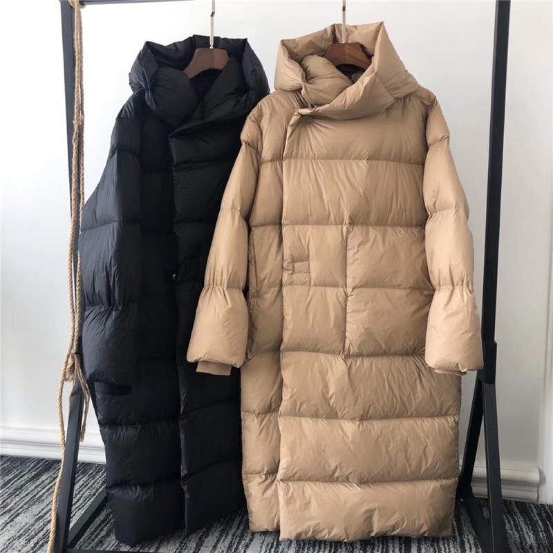 High-end Good Quality Thick Hooded Long Parka Goose Down Jacket Warm For Winter Women Loose Goose Down Coat Puffer Coat NS1693
