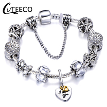 CUTEECO Popular Silver Heart Pendant Charm Cuff Bracelet&Bangle Clear Crystal Beads Brand Bracelet For Women Girl Jewelry Gift