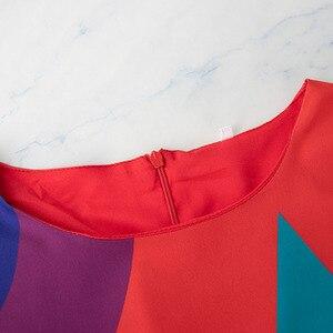 Image 4 - TWOTWINSTYLE Casual Stampa Abiti di Colore Hit Delle Donne O Collo Della Lanterna Manicotto Dei Tre Quarti Vita Alta Lace Up Vestito Volant Femminile nuovo
