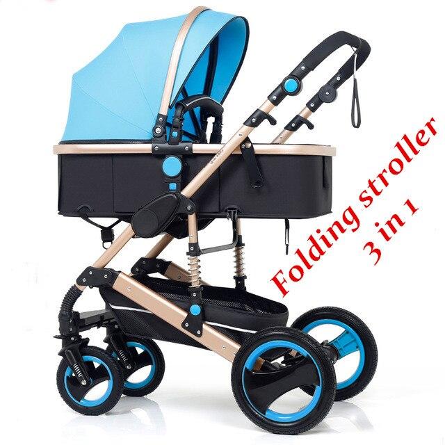Folding Baby Stroller 3 In 1 Neonatal Baby Carriage High Landscape Pram Four Seasons Baby Stroller Shock Bbsorption Baby Car