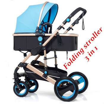 Folding Baby Stroller 3 in 1 Neonatal Baby Carriage High Landscape Pram Four Seasons Baby Stroller Shock Bbsorption Baby Car цена 2017