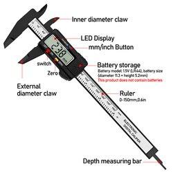 Digital Vernier Caliper 0-150mm 6-inch LCD Electronic Carbon Fiber Altimeter Micrometer Measuring Tool