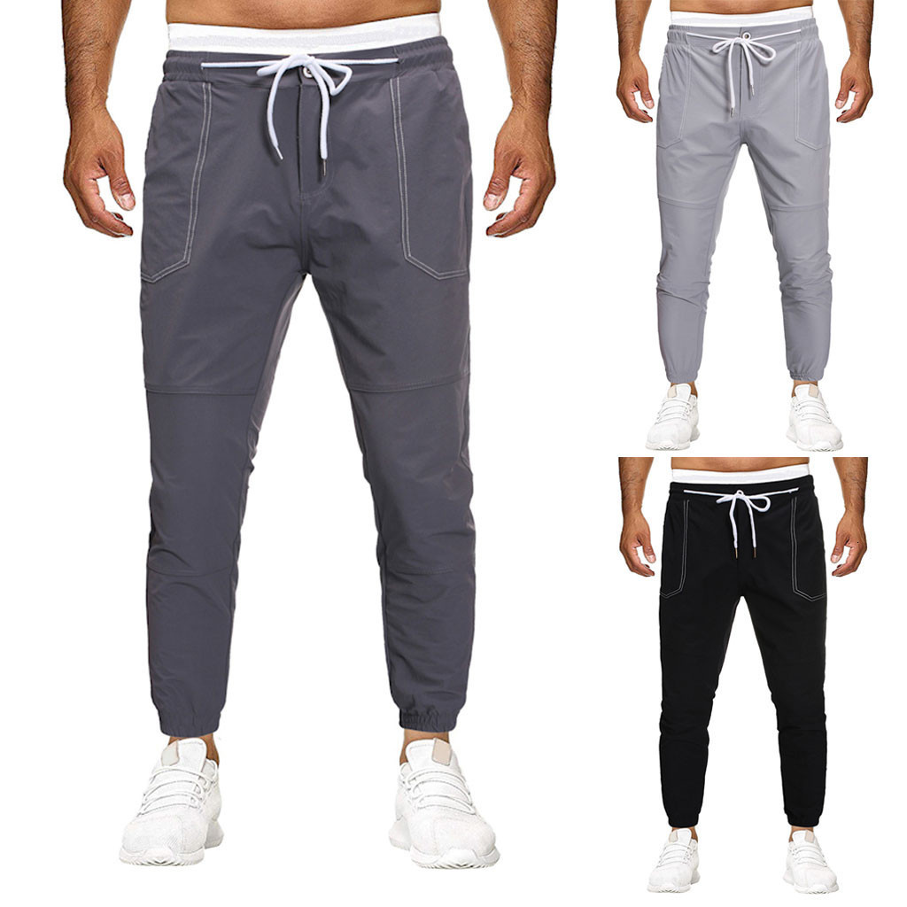 Men Joggers Sweatpants Men's Joggers Trousers Men Pocket Pure Color Overalls Casual Pocket Sport Work Casual Trouser Pants M-4XL