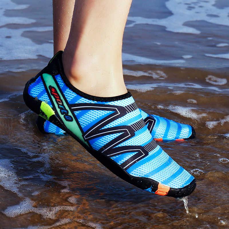 Homem tênis sapatos para piscina ao ar livre praia sapatos descalços mulher pesca aqua água sapatos de mergulho wading tamanho grande 35-48