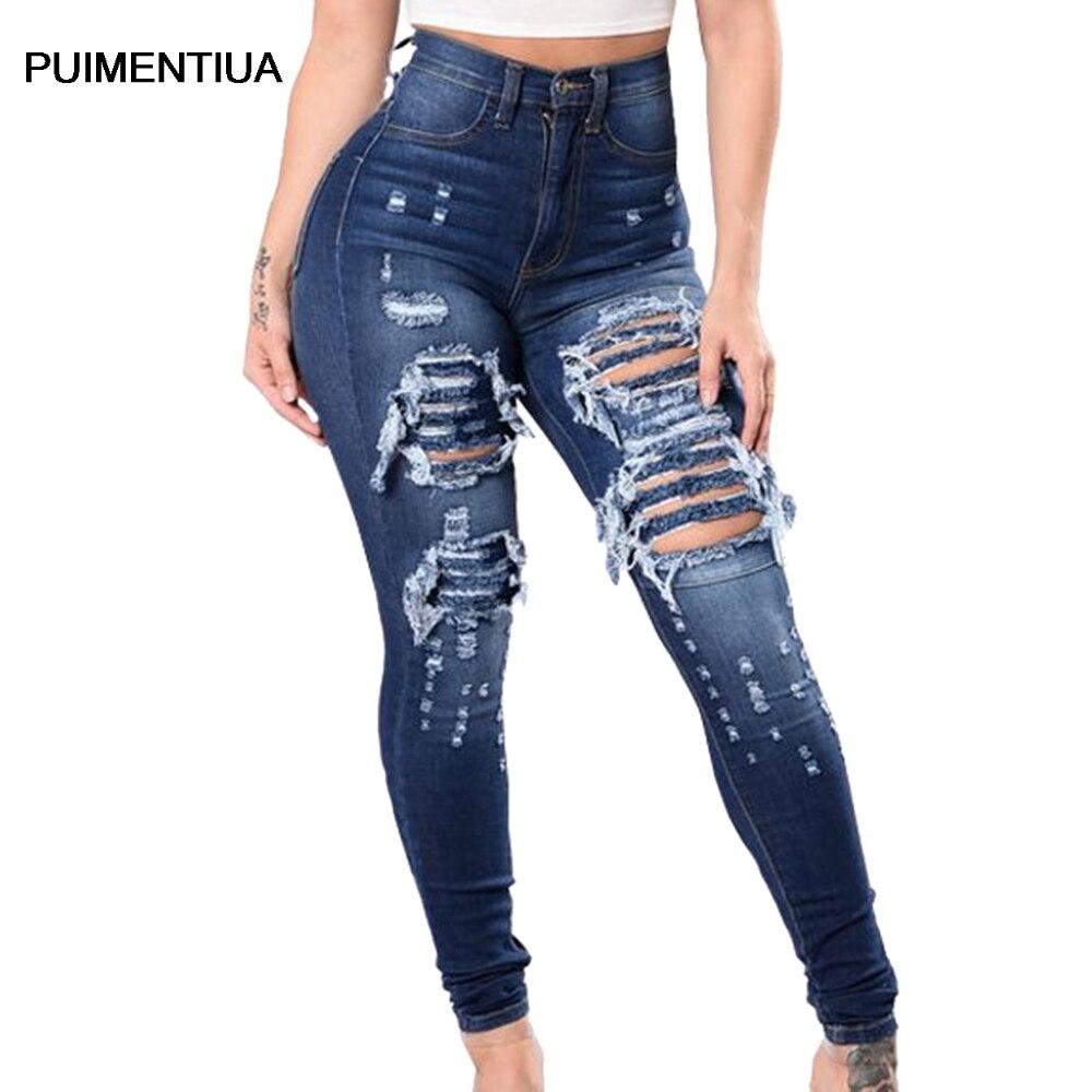Puimentiua Vaqueros De Color Solido Para Mujer 2020 Nueva Moda Pantalones De Lapiz Ajustados Sexy Casual Diseno De Agujero Ropa De Calle Jean Aliexpress