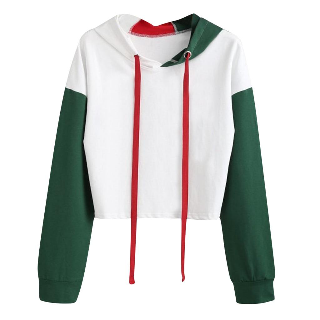 Green White Patchwork Womens Sweatshirt Harajuku Long Sleeve Short Hooded Pullover Hoodie Sports Running Drawstring Tops #Y3