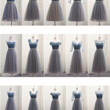 Bridesmaid Dresses Elegant 2020 Long Gray Blue Rhinestone Be
