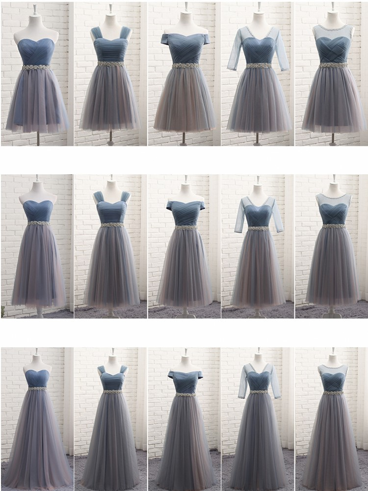 Bridesmaid Dresses Elegant 2020 Long Gray Blue Rhinestone Belt Wedding Party Dresses Slim Banquet Homecoming Party Prom Dresses