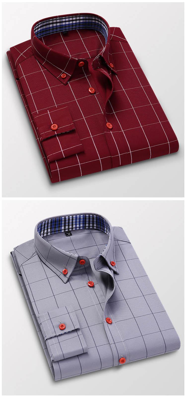 H99f04259910240aba168aa2f3f2f3b56A Handsome Fashion Men Shirts Casual Long Sleeved Plaid Shirt Regular Fit Male Blouse 4XL 5XL