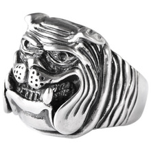 925 sterling silver retro Thai silver bulldog fierce dog ring fashion hip-hop personality ring 925 sterling silver retro thai silver bulldog fierce dog ring fashion hip hop personality ring