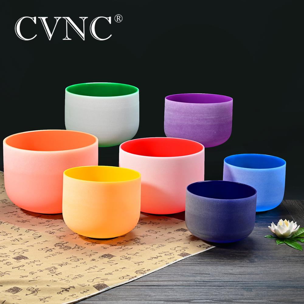 CVNC 10 Inch Third Eye Crown Root Navel Solar Heart Throat Chakra Quartz Crystal Singing Bowl