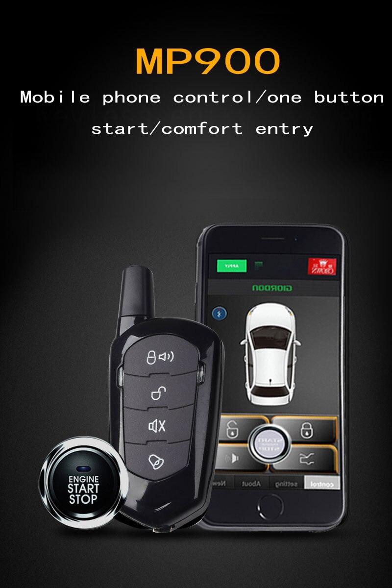 Car Alarm System Vibration Sensor Alarm Bluetooth Keyless Entry System Car Security Central Locking Signaling Start Stop Button