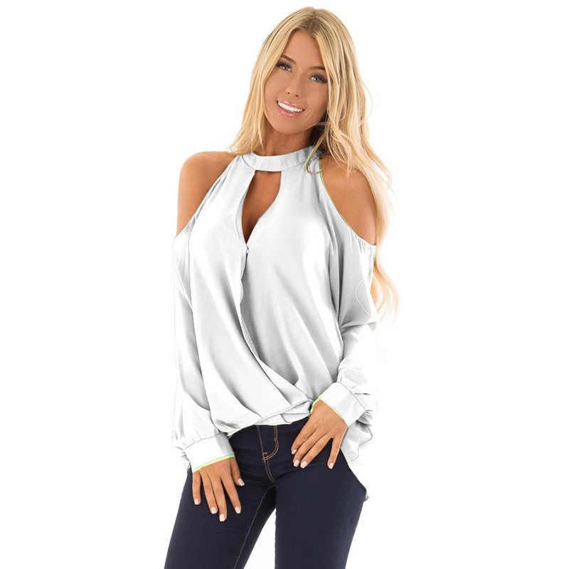 Pleated 섹시한 Strapless 티셔츠 여성 쉬폰 라운드 넥 매달려 목 단추 긴 소매 여성 티셔츠 솔리드 2020 봄 여름