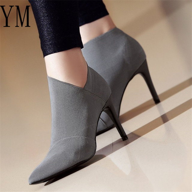 2020 Grey Fashion Women High Heel Booties Large Size 34-41 Female High-Heeled Boots Young Ladies Booties 8.5cm Heel Cloth Boots