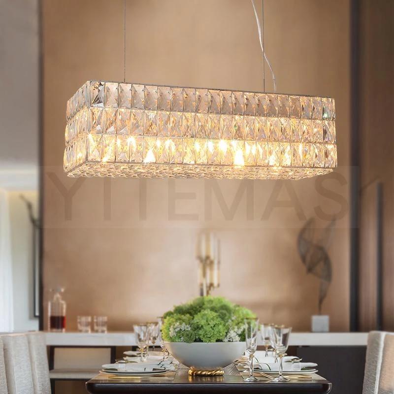 Large Rectangular Crystal Pendant Light Modern Clear Crystal Pendant 8 Light Hanging Lamps Foyer Lighting Kitchen Light Fixtures Pendant Lights Aliexpress