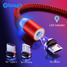 Elough Magnetic Charger Micro USB Cable Fast Charging for iPhone Xiaomi Mobile Phone Magnet Charging USB Type C Cable Cord El360 elough magnetic charging usb cable for iphone charger micro usb cable type c led usb magnetic cable usb c for xiaomi charger