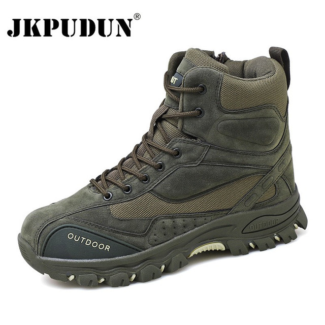 Tactical Military Combat Boots Men Genuine Leather US Army Hunting Trekking Camping Mountaineering Winter Work Shoes Bot JKPUDUN 1