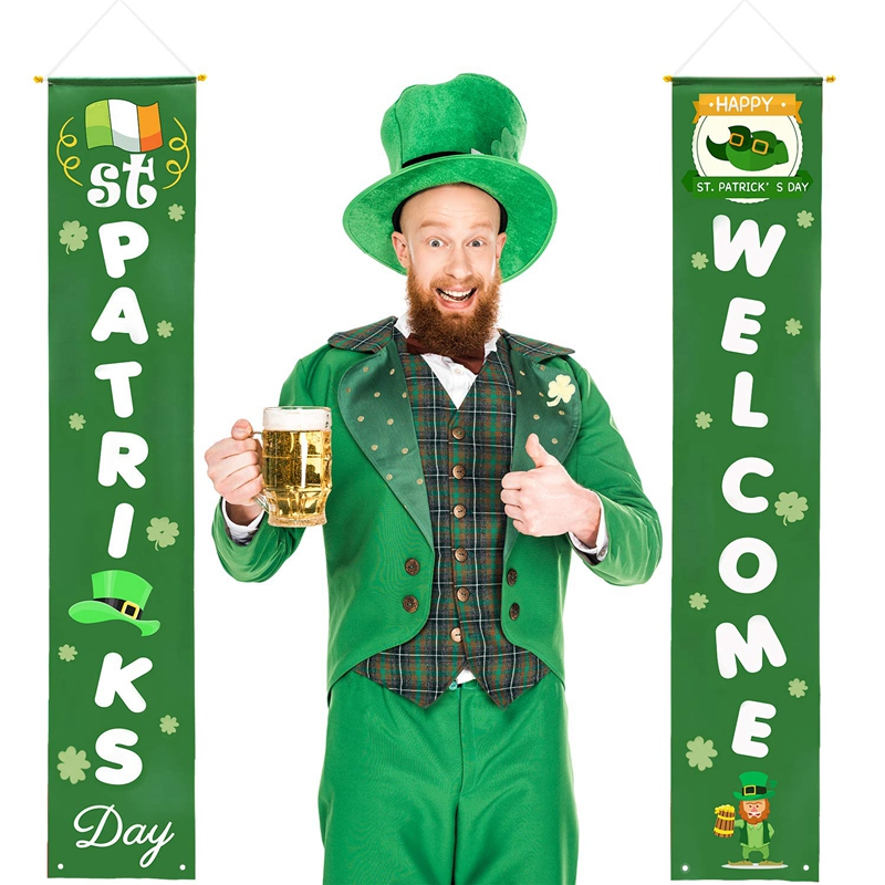 St Patricks Porch Sign - St Patricks Day Decorations Outdoor Indoor - Happy St Patricks Day And Lucky Banner Decor For Home Wall