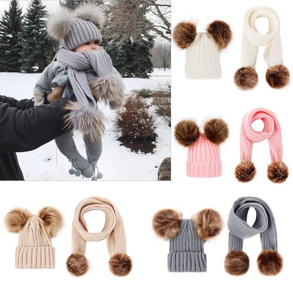 2 Pieces Set Girls Boys Cute Winter Kids Baby Hats Keep Warm Set Children Knit Wool Fur Double Ball Hat Crochet Cap Scarf Set