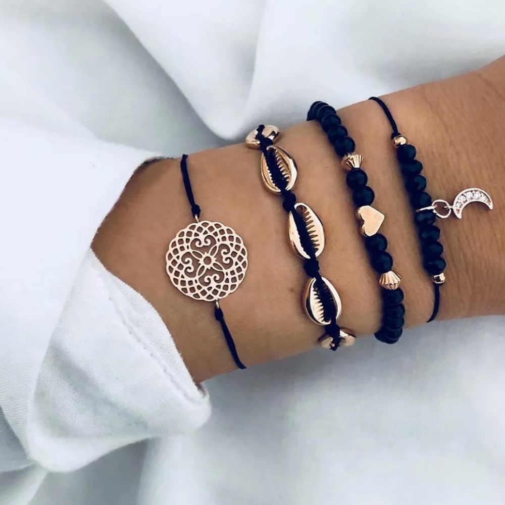 Yeni Bohemian siyah halat zincir bilezik seti kadınlar için uçak kabuk ay kalp kristal Charm bileklik Boho takı