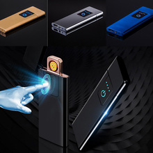 USB Charging Lighters Touch Screen Sensor Electronic Cigarette Lighter Flameless Rechargeable Windproof Tungsten