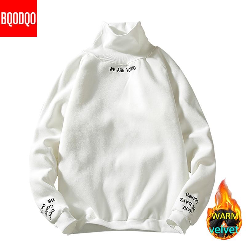 Fleece Winter Black Hoodies Sweatshirts Men Turtleneck Tracksuit Streetwear Casual Hooodie Japanese Mens Hip Hop Japan Style 5XL