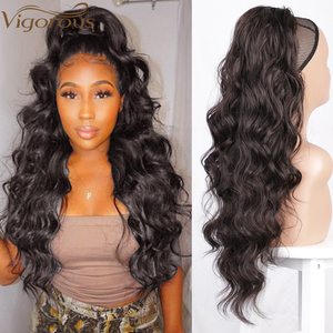 Vigorous Long Wavy Drawstring Ponytail for Women Synthetic Wave Hair Extension Clip in Hairpiece Black Fake Hair