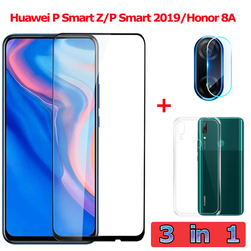 3-in-1 Tempered Glass For Huawei P Smart Z/2019 Camera Glass Honor 8A Screen Protector Film Huawei P Smart Z P Smart 2019 Glass
