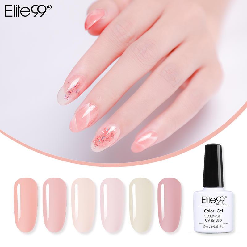 Гель-лак для ногтей Elite99, 10 мл, лак для ногтей во французском телесном цвете, цветной УФ-гель для ногтей, светопрозрачный праймер для ногтей, в...