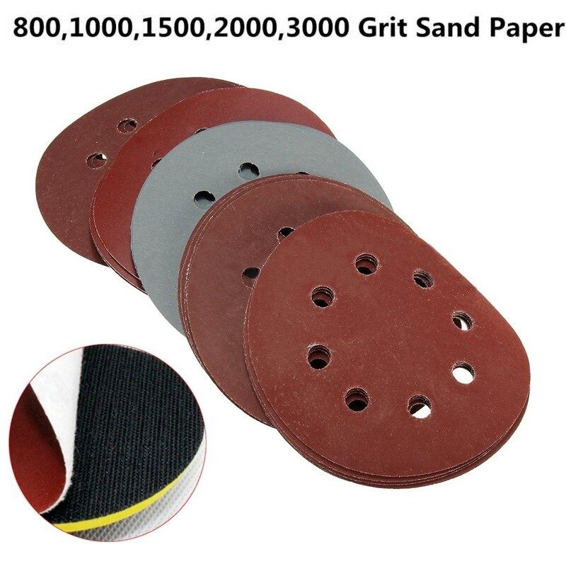 50pcs Sanding Disc 125mm 800/1000/1500/2000/3000 Grit Flocking Sander Pads Parts