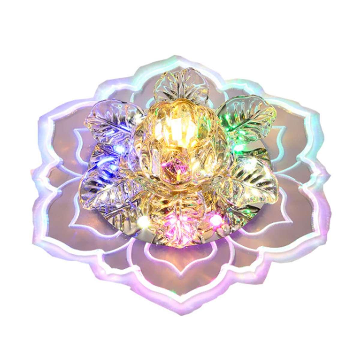 Цветной Современный хрустальный потолочный светильник в форме цветка, Светодиодная потолочная лампа, украшение для дома, коридоры светиль...