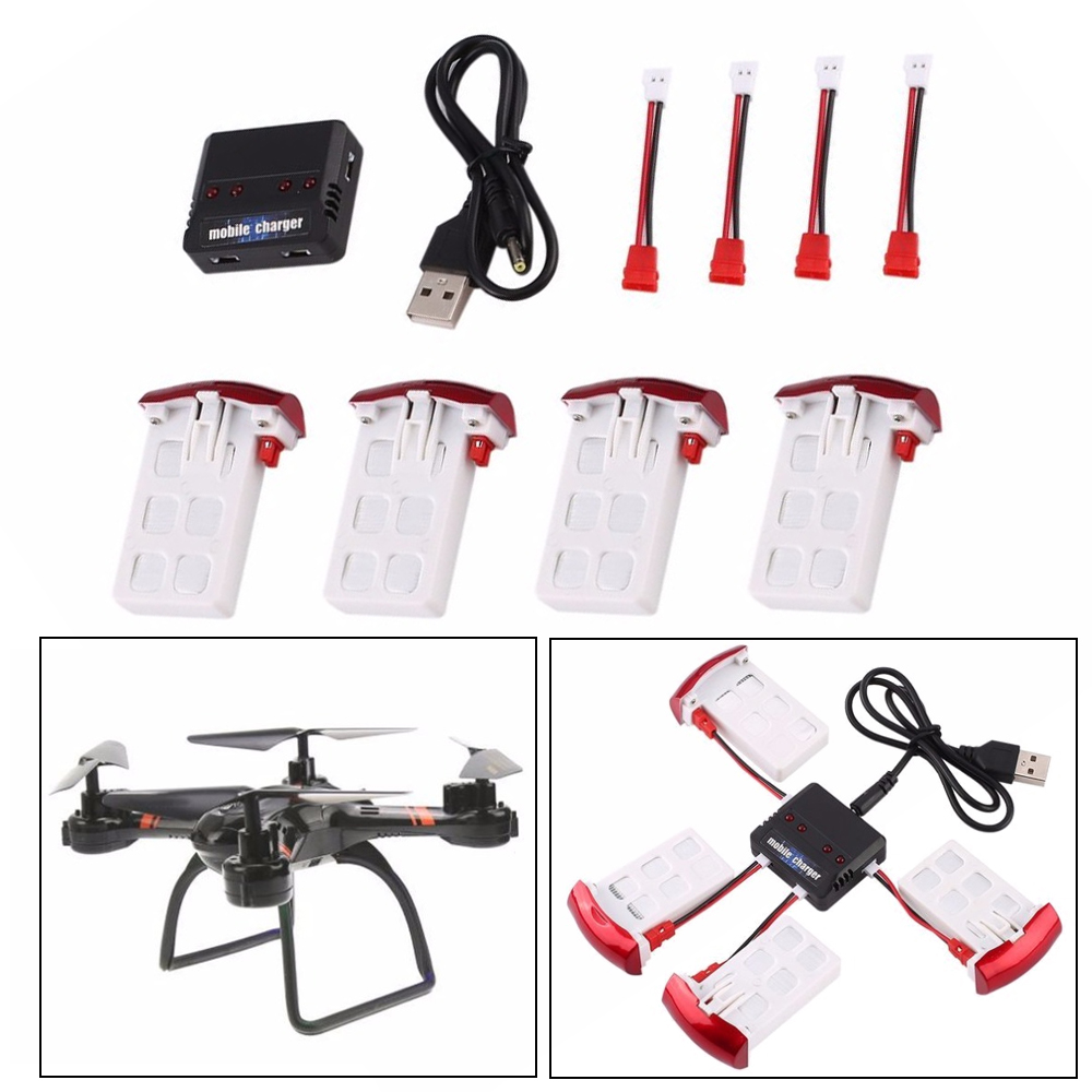 RC <font><b>Battery</b></font>, 4pcs <font><b>3.7V</b></font> <font><b>500mAh</b></font> 25C <font><b>Lipo</b></font> <font><b>Battery</b></font> and 1pcs 4-Ports <font><b>Battery</b></font> Charger For Syma X5UW RC Quadcopter <font><b>Drone</b></font> image