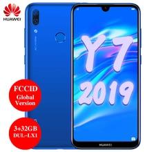 Huawei Y7 2019 глобальная версия смартфона, экран 6,26 дюйма, 3 Гб 32 Гб, поддержка FCCID, сканер отпечатка пальца, две SIM карты, AI камера