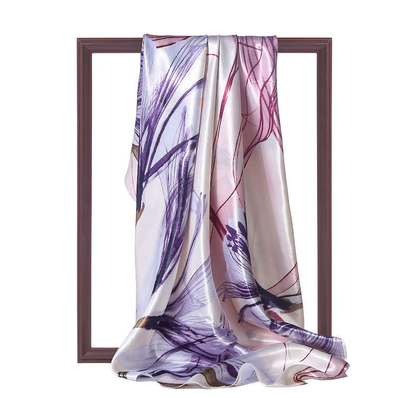 Design Women Silk Scarf Hijab Neck Band Print Floral Shawls Lady Wraps Square Pashmina Head Scarves 2020 Fashion New