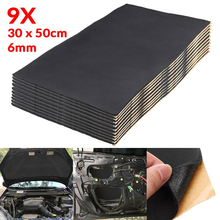 9X 1cm 0.6cm Car Sound Hot Deadener Mat Noise Proof Bonnet Insulation Deadening Engine Firewall Heat Foam Cotton Sticker 30x50cm