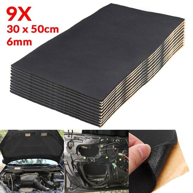 9X 1cm 0.6cm voiture son chaude Deadener Mat bruit preuve Bonnet isolation amortissement moteur pare feu chaleur mousse coton autocollant 30x50cm