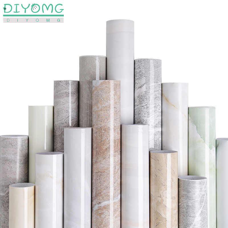Thick Marble PVC Waterproof Self Adhesive Stickers Furniture Cabinet  Renovation Wallpaper Cupboard Vinyl Film Contact Paper