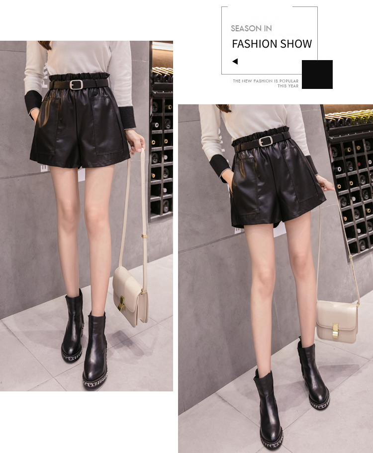 Elegant Leather Shorts Fashion High Waist Shorts Girls A-line  Bottoms Wide-legged Shorts Autumn Winter Women 6312 50 42