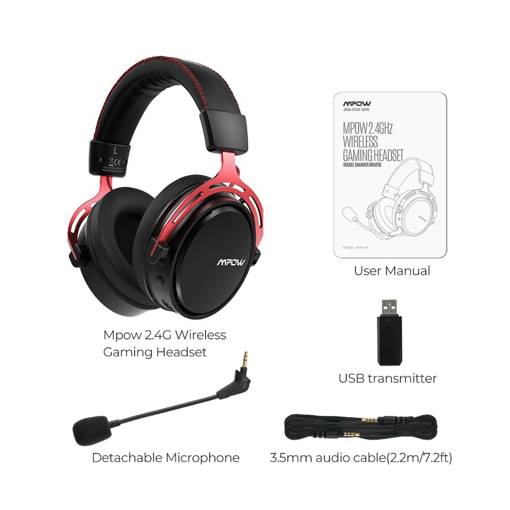 Mpow BH415 Gaming Headset 2.4GHz Wireless Headphones 3.5mm Wired Earphone With Noise Canceling Mic For PC Gamer For PS4 Xbox One (8)