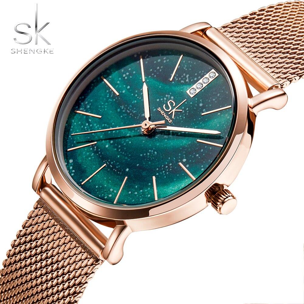 SK Лучшие Роскошные Брендовые женские часы модный женский браслет часы элегантные звезды розовое золото Bule зеленые часы Feminino Montre Femme