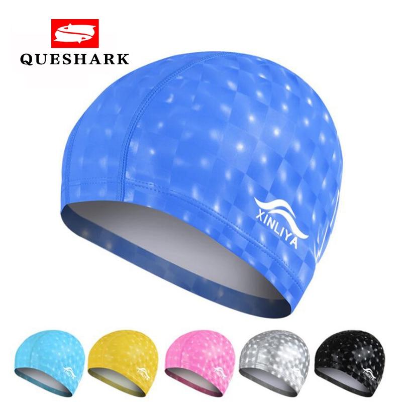 Men & Women Free Size Elastic Waterproof PU Swim Cap Fabric Protect Ears Long Hair Sports Swim Pool Hat Diving Swimming Cap