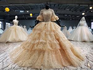 Image 1 - 2020 חדש נפוח קצר שרוולים o צוואר 4 שכבות חצאית וגרם זהב נצנצים כלה שמלת קפלת רכבת