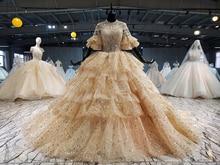 Vestido de novia con lentejuelas doradas, falda de 4 capas con cuello redondo y mangas cortas hinchadas, perfecto para tren capilla, 2020
