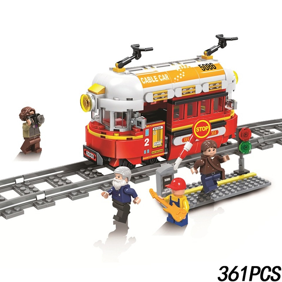 New Classic Cable Train Model Rail MOC Technic City Creator Lepining Building Blocks Bricks Gift Toys For Children Boys Gift